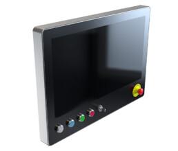 HMI Touchscreengehaeuse mit Tasten und Not-Aus