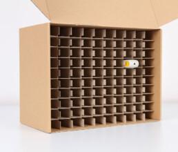 Massenverpackung für den Transport eines Bestellstiftes im Kunststoffspritzguss