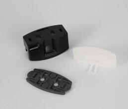Spritzgussteile als Sensorgehäuse, Adapterplatte und transluzentem Deckel